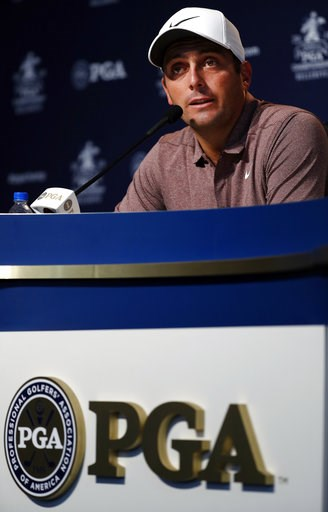 (AP Photo/Jeff Roberson). Francesco Molinari, of Italy, speaks during a news conference at the PGA Championship golf tournament Tuesday, Aug. 7, 2018, at Bellerive Country Club in St. Louis. Molinari is the 2018 British Open champion.