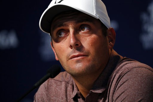 (AP Photo/Jeff Roberson). Francesco Molinari, of Italy, listens to a question during a news conference at the PGA Championship golf tournament Tuesday, Aug. 7, 2018, at Bellerive Country Club in St. Louis. Molinari is the 2018 British Open champion.