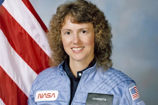 (NASA via AP). This Sept. 26, 1985 photo made available by NASA shows astronaut Sharon Christa McAuliffe. The high school teacher from Concord, N.H., never got to teach from space. She perished during the 1986 launch of shuttle Challenger, along with h...