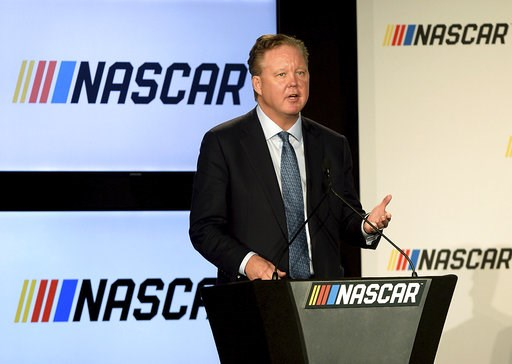 (Jeff Siner/The Charlotte Observer via AP, File). FILE - In this Jan. 23, 2017, file photo, Brian France, Chairman of NASCAR, gives opening remarks prior to an announcement of NASCAR's approach to modernizing its series with a new format, in Charlotte,...
