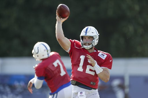 (AP Photo/Michael Conroy). Indianapolis Colts quarterback Andrew Luck (12) throws during practice at the NFL team's football training camp in Westfield, Ind., Monday, Aug. 6, 2018.