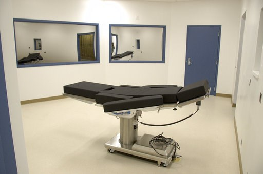 (Nevada Department of Corrections via AP, File). FILE - This Nov. 10, 2016, file photo released by the Nevada Department of Corrections shows the newly completed execution chamber at Ely State Prison in Ely, Nev. Fifteen states are siding with Nevada a...