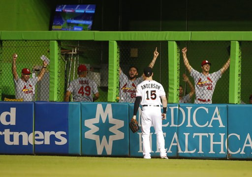 (AP Photo/Wilfredo Lee). St. Louis Cardinals in the bullpen celebrates after Miami Marlins right fielder Brian Anderson was unable to catch the ball on a home run by St. Louis Cardinals' Matt Carpenter during the eighth inning of a baseball game Tuesda...