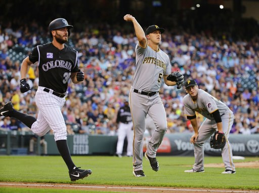(AP Photo/Jack Dempsey). Pittsburgh Pirates starting pitcher Jameson Taillon throws out Colorado Rockies' Chad Bettis, left, at first base during the third inning of a baseball game Tuesday, Aug. 7, 2018, in Denver.