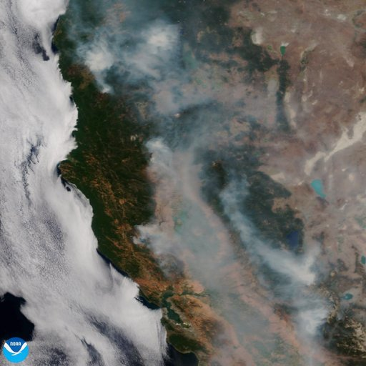 (NOAA via AP). This satellite image released on Tuesday, Aug. 7, 2018 provided by NOAA shows the wildfires known as the Mendocino Complex, Calif. Northern California is grappling with the largest wildfire in California history, breaking a record set on...