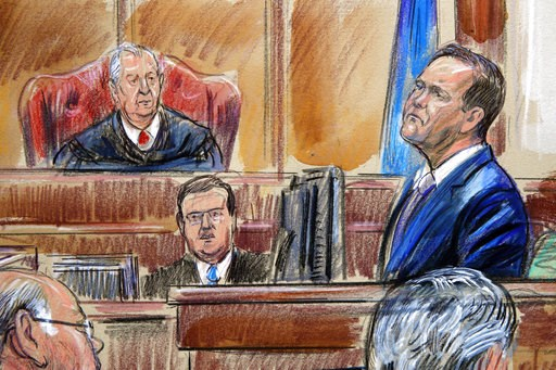 (Dana Verkouteren via AP). This courtroom sketch depicts Rick Gates on the witness stand as he is cross examined by defense lawyer Kevin Downing during the trial of former Donald Trump campaign chairman Paul Manafort on bank fraud and tax evasion at fe...