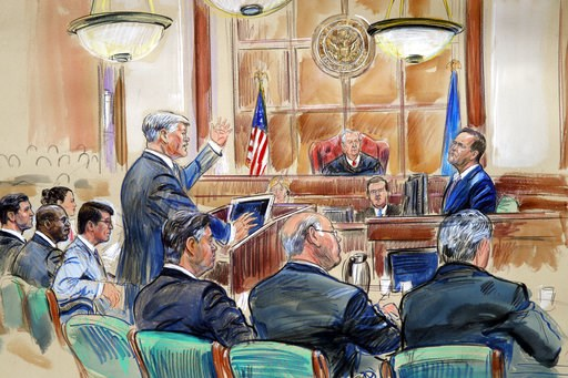 (Dana Verkouteren via AP). This courtroom sketch depicts defense lawyer Kevin Downing asking questions of Rick Gates, as former Donald Trump campaign chairman Paul Manafort, bottom front left, listens during Manafort's trial on bank fraud and tax evasi...