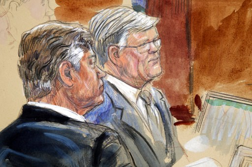 (Dana Verkouteren via AP). This courtroom sketch depicts former Donald Trump campaign chairman Paul Manafort, left, listening with his lawyer Kevin Downing to testimony from government witness Rick Gates as Manafort's trial continues at federal court i...