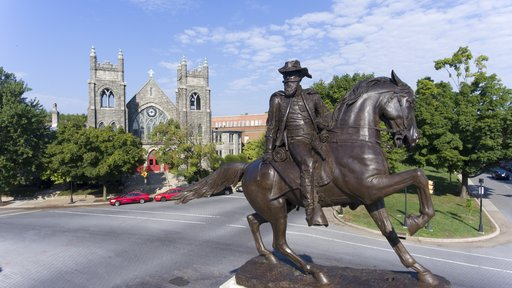 (Chad Williams/DroneBase via AP, File). FILE - This Aug. 22, 2017, file photo shows the statue of Confederate General J.E.B. Stuart on Monument Avenue in Richmond, Va. Pressure to take down America's monuments honoring slain Confederate soldiers and th...