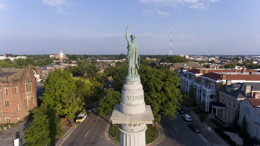 (DroneBase via AP, File). FILE - This Aug. 22, 2017, file photo shows part of the Confederate President Jefferson Davis on Monument Avenue in Richmond, Va. Virginia has one of the oldest state laws protecting war monuments. Richmond's city attorney war...