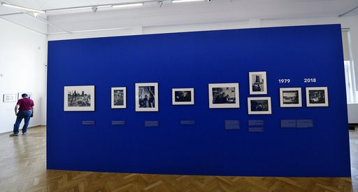 (AP Photo/Czarek Sokolowski). Photographs on display documenting Jewish life in Poland from the 1970s, in Warsaw, Poland, Wednesday, Aug. 8, 2018. A new photo exhibition in Warsaw documents more than 40 years of Jewish life in Poland _ from the 1970s, ...