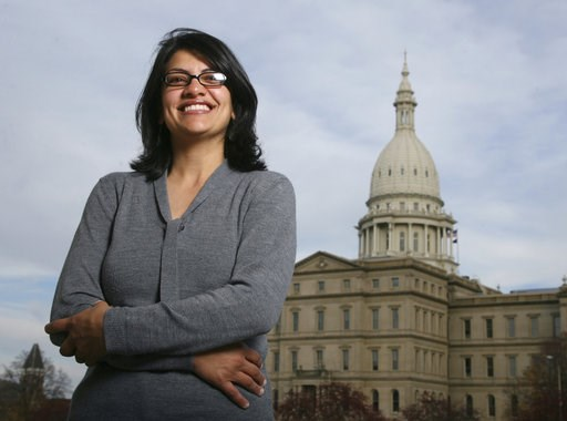 (AP Photo/Al Goldis, File). FILE - In this Nov. 6, 2008 file photo, Rashida Tlaib, a Democrat, is photographed outside the Michigan Capitol in Lansing, Mich. The Michigan primary victory of Tlaib, who is expected to become the first Muslim woman and Pa...