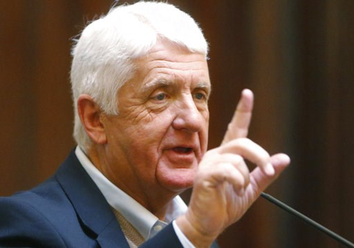 (AP Photo/Rick Bowmer, File). FILE - In this Feb. 12, 2018, file photo, Utah Republican Rep. Rob Bishop speaks on the Senate floor at the Utah State Capitol in Salt Lake City. A northern Utah candidate for a new centrist third-party is trying to drum u...