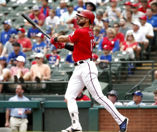 (AP Photo/Mike Stone). Texas Rangers Joey Gallo hits a solo home run against the Seattle Mariners during the third inning of a baseball game Wednesday, Aug. 8, 2018, in Arlington, Texas.