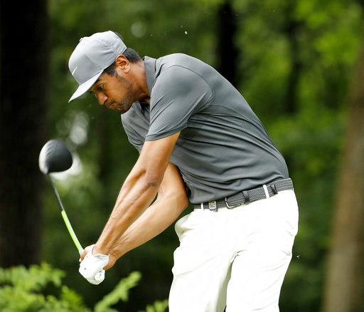 (AP Photo/Charlie Riedel). Tony Finau hits from the 17th tee during a practice round for the PGA Championship golf tournament Tuesday, Aug. 7, 2018, at Bellerive Country Club in St. Louis.