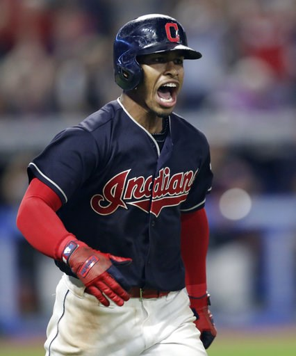 (AP Photo/Tony Dejak). Cleveland Indians' Francisco Lindor celebrates after hitting a game-winning three-run home run off Minnesota Twins relief pitcher Trevor Hildenberger during the ninth inning of a baseball game Wednesday, Aug. 8, 2018, in Clevelan...