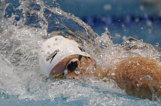 (AP Photo/Shuji Kajiyama). United States' Townley Haas swims in the men's 200m freestyle final during the Pan Pacific swimming championships in Tokyo, Japan, Thursday, Aug. 9, 2018.