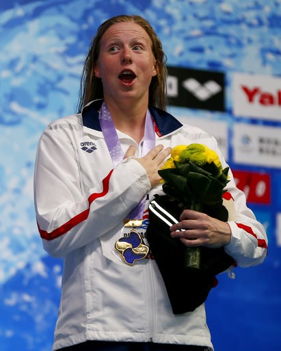 (AP Photo/Shuji Kajiyama). United States Lillia King reacts on the podium after winning the women's 100m breaststroke final during the Pan Pacific swimming championships in Tokyo, Japan, Thursday, Aug. 9, 2018.