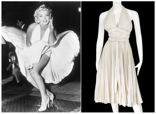 "(AP Photo/Profiles in History). This combination photo shows actress Marilyn Monroe posing over the updraft of a New York subway grate while filming ""The Seven Year Itch"" New York, left, and the dress she is wearing on a mannequin. The dress, created b..."