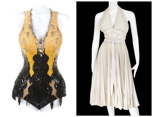"(Profiles in History via AP). This combination photo of images released by Profiles in History shows costumes worn by actress Marilyn Monroe in ""Gentlemen Prefer Blondes,"" left, and ""The Seven Year Itch,"" that are up for auction in October 2018."