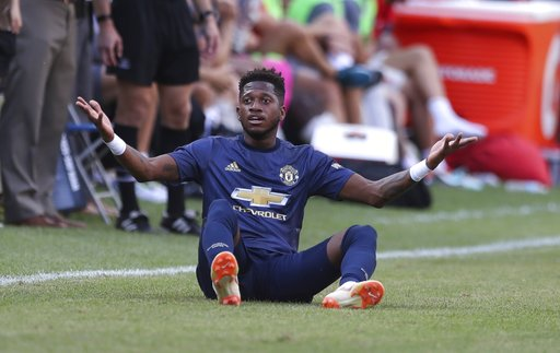(AP Photo/Carlos Osorio, file). FILE - In this Saturday, July 28, 2018 file photo, Manchester United's Fred looks on during their International Champions Cup tournament soccer match against Liverpool, in Ann Arbor, Mich. The summer transfer window has ...