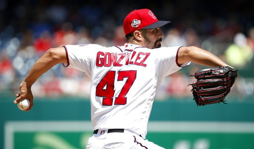 (AP Photo/Alex Brandon). Washington Nationals starting pitcher Gio Gonzalez throws during the fifth inning of a baseball game against the Atlanta Braves at Nationals Park, Thursday, Aug. 9, 2018, in Washington.