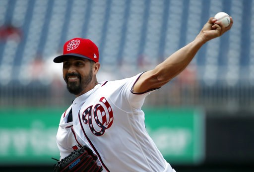 (AP Photo/Alex Brandon). Washington Nationals starting pitcher Gio Gonzalez throws during the first inning of a baseball game against the Atlanta Braves at Nationals Park, Thursday, Aug. 9, 2018, in Washington.