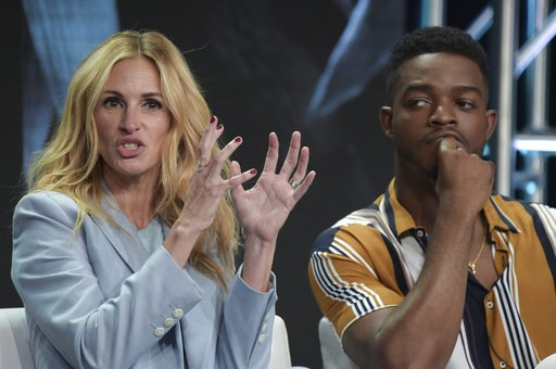 "(Photo by Richard Shotwell/Invision/AP). Julia Roberts, left, and Stephan James participate in the ""Homecoming"" panel during the TCA Summer Press Tour on Saturday, July 28, 2018, in Beverly Hills, Calif."