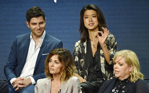"(Photo by Chris Pizzello/Invision/AP). Grace Park, top right, answers a question as fellow cast members in the Disney ABC television series ""A Million Little Things,"" David Giuntoli, top left, and Stephanie Szostak, bottom left, and executive producer ..."
