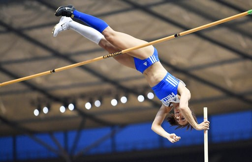 (AP Photo/Martin Meissner). Greece's Ekatarini Stefanidi makes an attempt in the women's pole vault final at the European Athletics Championships at the Olympic stadium in Berlin, Germany, Thursday, Aug. 9, 2018.