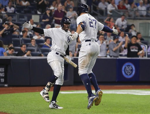 (AP Photo/Julie Jacobson). New York Yankees' Didi Gregorius, left, and Giancarlo Stanton (27) celebrate after Stanton hit a solo home run against the Texas Rangers during the fifth inning of a baseball game, Thursday, Aug. 9, 2018, in New York.