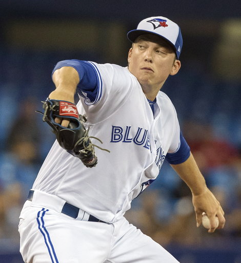 (Fred Thornhill/The Canadian Press via AP). Toronto Blue Jays starting pitcher Ryan Borucki throws to a Boston Red Sox batter during the first inning of a baseball game Thursday, Aug. 9, 2018, in Toronto.