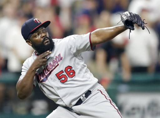 (AP Photo/Tony Dejak). Minnesota Twins relief pitcher Fernando Rodney celebrates after the Twins defeated the Cleveland Indians 3-2 in a baseball game Wednesday, Aug. 8, 2018, in Cleveland.