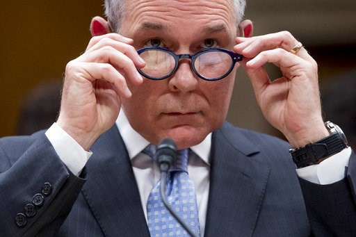 (AP Photo/Andrew Harnik). FILE - In this May 16, 2018 file photo, Environmental Protection Agency Administrator Scott Pruitt appears before a Senate Appropriations subcommittee on budget on Capitol Hill in Washington. A federal appeals court has ruled ...