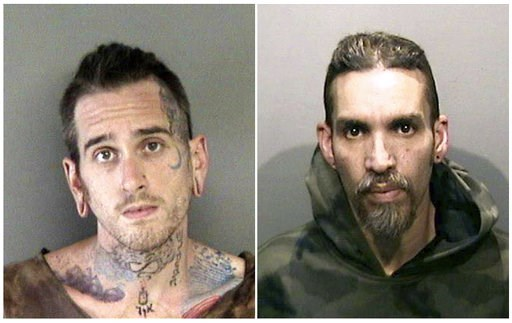 (Alameda County Sheriff's Office via AP, File). FILE- This combination of file June 2017 booking photos released by the Alameda County Sheriff's Office shows Max Harris, left, and Derick Almena, at Santa Rita Jail in Alameda County, Calif. The two men,...