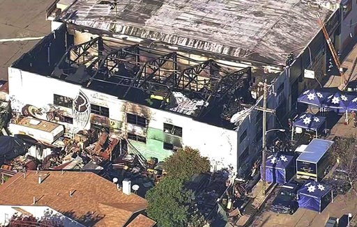 (KGO-TV via AP, File). FILE - This Dec. 3, 2016, file image from video provided by KGO-TV shows the Ghost Ship Warehouse after a fire swept through the building in Oakland, Calif. Two men who pleaded no contest to 36 charges of involuntary manslaughter...