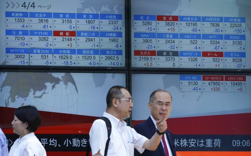 (AP Photo/Eugene Hoshiko). Men stand in front of an electronic stock board showing Japan's Nikkei 225 index at a securities firm in Tokyo Friday, Aug. 10, 2018. Shares were lower in Asia on Friday, tracking losses on Wall Street, despite the release of...