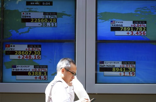 (AP Photo/Eugene Hoshiko). A man walks past an electronic stock board showing Japan's Nikkei 225 index and lather coin try's index at a securities firm in Tokyo Friday, Aug. 10, 2018. Shares were lower in Asia on Friday, tracking losses on Wall Street,...