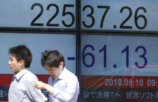 (AP Photo/Eugene Hoshiko). Men walk past an electronic stock board showing Japan's Nikkei 225 index at a securities firm in Tokyo Friday, Aug. 10, 2018. Shares were lower in Asia on Friday, tracking losses on Wall Street, despite the release of data sh...