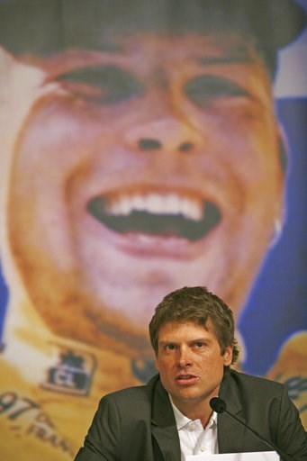(AP Photo/Oliver Fantitsch, file). FILE - In this Feb. 26, 2007 file photo German cyclist Jan Ullrich, Tour de France winner in 1997, announces his retirement from active cycling during a news conference at a hotel in Hamburg, northern Germany. On Frid...
