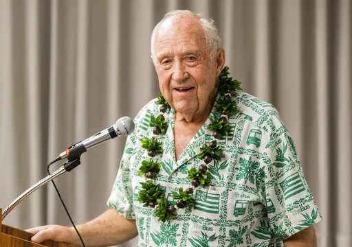 "(Dennis Oda/Honolulu Star-Advertiser via AP). In this April 6, 2018 photo, former state Sen. John Carroll, who is running for Hawaii governor, speaks at a forum in Honolulu. Carroll said Hawaii ""is in economic chaos,"" and plans to sue to lift shipping ..."