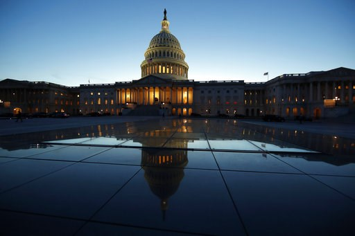 (AP Photo/Alex Brandon, File). FILE- This March 5, 2018, file photo show the East Front of the U.S. Capitol at sunset in Washington. On Friday, Aug. 10, the Treasury Department releases federal budget data for July.