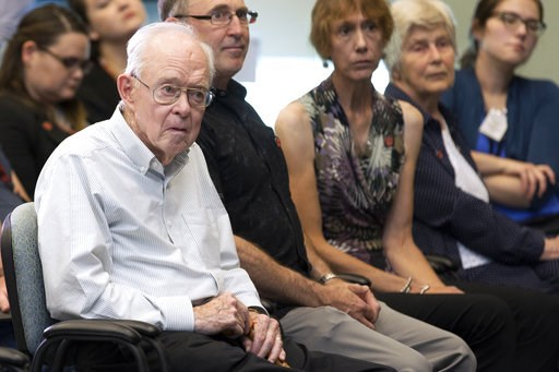 (Kim Shiflett/NASA via AP). In this Thursday, Aug. 9, 2018, astrophysicist Eugene Parker attends a news conference about the Parker Solar Probe named after him, at the Kennedy Space Center in Florida. Sixty years ago, the young astrophysicist proposed ...