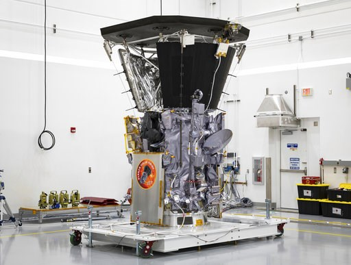 (Ed Whitman/Johns Hopkins APL/NASA via AP). This July 6, 2018 photo made available by NASA shows the Parker Solar Probe in a clean room at Astrotech Space Operations in Titusville, Fla., after the installation of its heat shield. NASA's Parker Solar Pr...