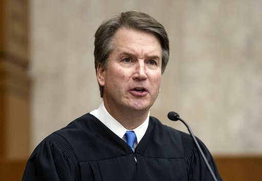 (AP Photo/J. Scott Applewhite). In this Aug. 7, 2018, photo, President Donald Trump's Supreme Court nominee, Judge Brett Kavanaugh, officiates at the swearing-in of Judge Britt Grant to take a seat on the U.S. Court of Appeals for the Eleventh Circuit ...