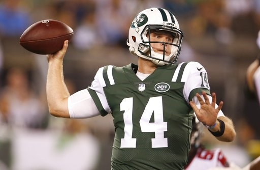 (AP Photo/Adam Hunger). New York Jets quarterback Sam Darnold (14) throws a pass during the first half of a preseason NFL football game against the Atlanta Falcons Friday, Aug. 10, 2018, in East Rutherford, N.J.