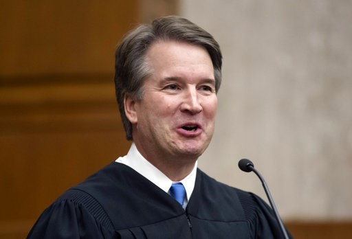 (AP Photo/J. Scott Applewhite). In this Aug. 7, 2018, photo. President Donald Trump's Supreme Court nominee, Judge Brett Kavanaugh, officiates at the swearing-in of Judge Britt Grant to take a seat on the U.S. Court of Appeals for the Eleventh Circuit ...