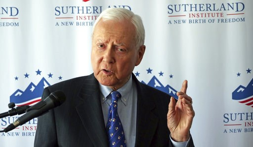 (AP Photo/Rick Bowmer). U.S. Sen. Orrin Hatch discusses Supreme Court nominee Brett Kavanaugh during a speech hosted by the Sutherland Institute, Thursday, Aug. 9, 2018, in Salt Lake City.