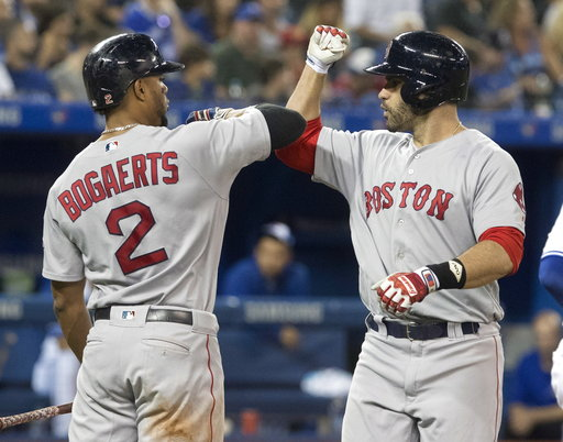 (Fred Thornhill/The Canadian Press via AP). Boston Red Sox's J. D. Martinez is greeted by Xander Bogaerts at home plate after hitting a solo home run against the Toronto Blue Jays during the fifth inning of a baseball game Thursday, Aug. 9, 2018, in To...