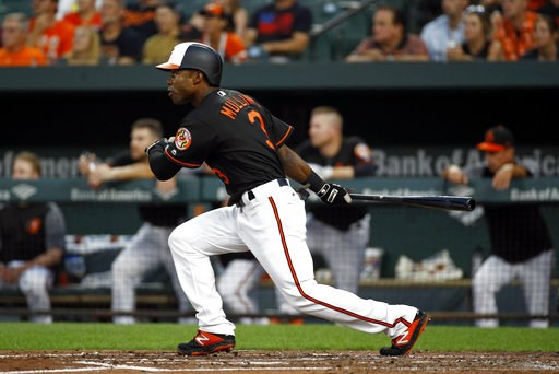 (AP Photo/Patrick Semansky). Baltimore Orioles' Cedric Mullins doubles in the second inning of a baseball game against the Boston Red Sox, Friday, Aug. 10, 2018, in Baltimore. Renato Nunez scored on the play.